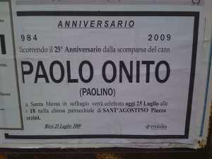 Annuncio funebre anniversario morte Paolo Onito